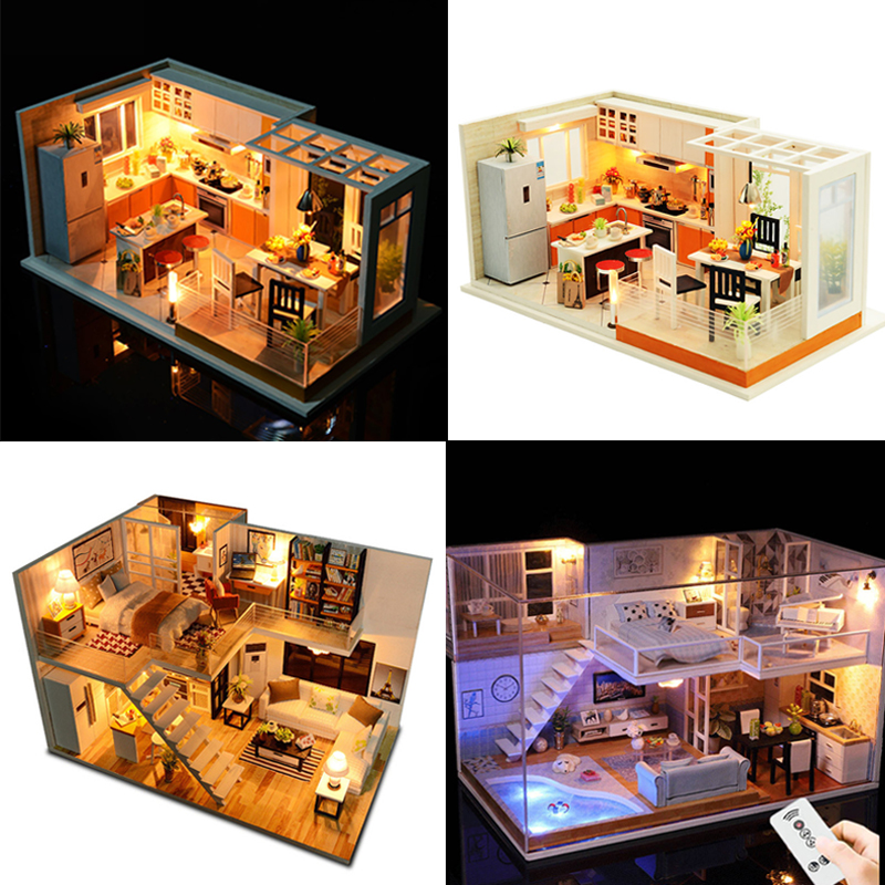 Miniature Dollhouse Model DIY Doll house With Furniture Building Kits Casa House For Dolls Toys Children Christmas Gift #E