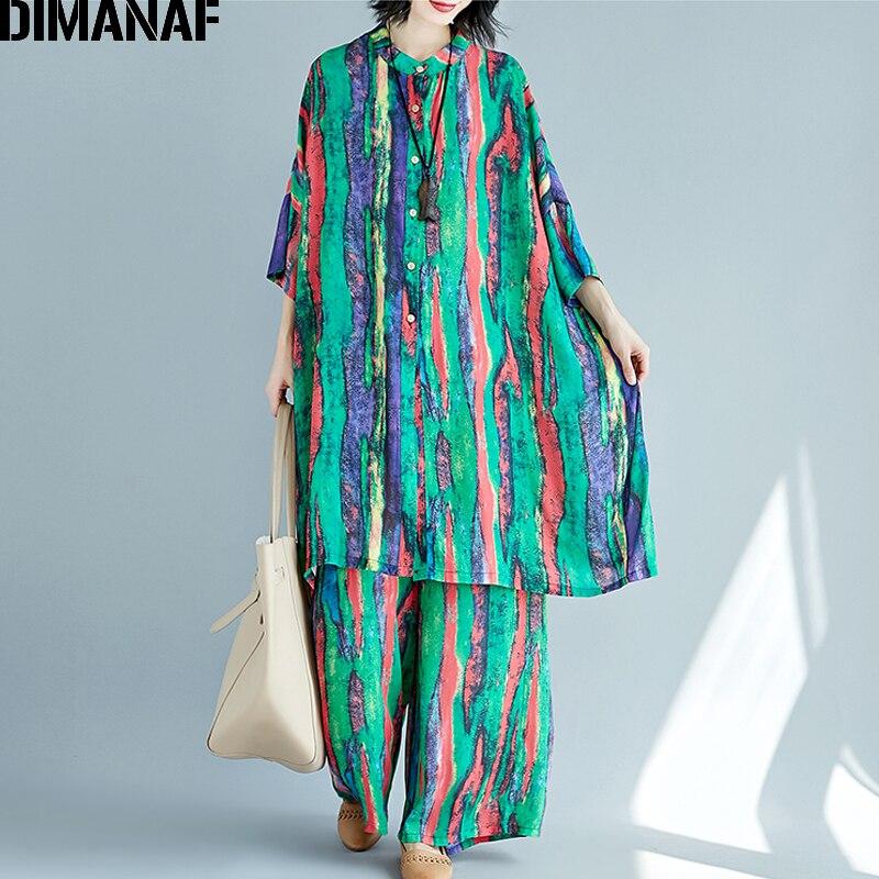 DIMANAF Plus Size Women Sets Summer Female Lady Tops Shirt Batwing Loose Big Size Long Pants
