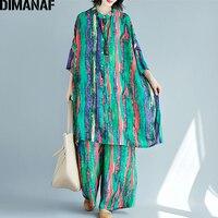 DIMANAF Plus Size Women Sets Summer Female Lady Tops Shirt Batwing Loose Big Size Long Pants Vintage Chiffon Print Set Suit 2019