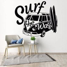 Modern Wall Decal Surf the Wave with Camper Car Sticker Old Vintage Auto Mural Vinyl Van Poster AY1471