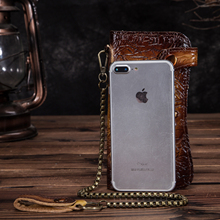 Cattle Male Organizer Original leather Design Dargon Tiger Emboss Checkbook Iron Chain Wallet Purse Clutch Handbag