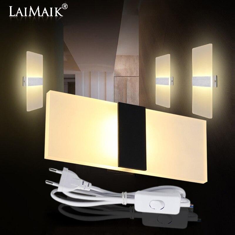 LAIMAIK moderna lámpara de pared Led AC110V/220 V lámpara LED acrílico lámpara de pared luz de la escalera 3 W 6 W 9 W 12 W Baño led luz de pared