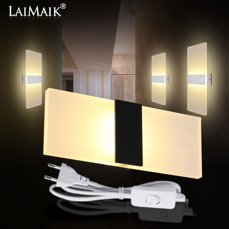 LAIMAIK Modern Led Wall Lamp AC110V/220V Sconce LED Acrylic Lamp Wall Mounted stair light 3W 6W 9W 12W  Bathroom led wall light