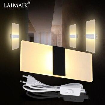 LAIMAIK Modern Led Wall Lamp AC110V/220V Sconce LED Acrylic Lamp Wall Mounted stair light 3W 6W 9W 12W  Bathroom led wall light black modern led wall lamp acrylic round