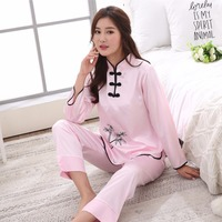 Sexy Pink Chinese Female Rayon Pajamas Set Novelty Embroidery Women Pyjamas Suit Causal Lounge Girl Home