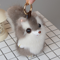 Genuine mink Fur Keychain fashion squirrel Keychain Key ring bag Pendant car pendant car accessories the best gift toys doll