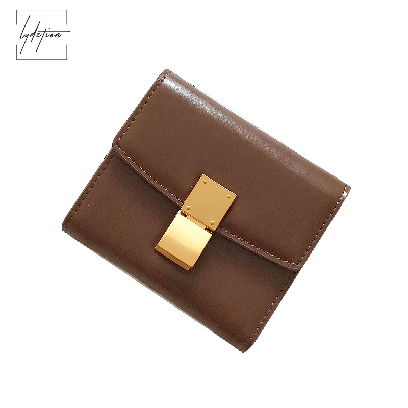 Lydztion Womens Wallet and Purses Europe Magazine Simple Smooth Buckle Money Bag Brown Short Card Bit Leather Bag new day clutch