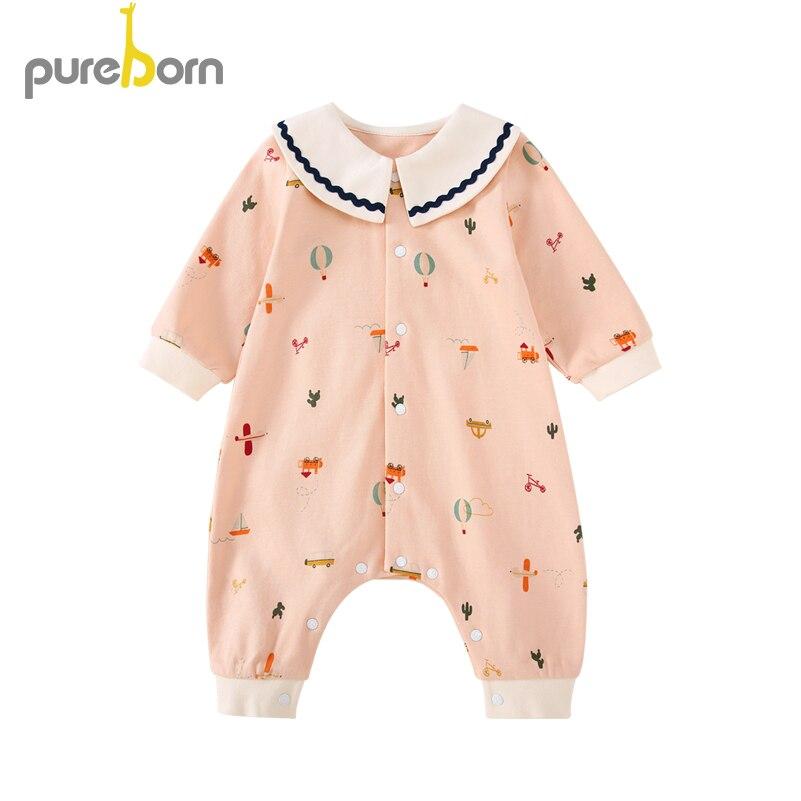 Pureborn Newborn Baby Girl Romper Contrast Collar Baby Girls Clothes Cartoon Cotton Spring Autumn Costumes For Girls