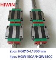 2 шт. 100% Оригинал Hiwin линейный рельс HGR15 L 1300 мм + 4 шт. HGW15CA HGW15CC Фланец Блок перевозки для ЧПУ