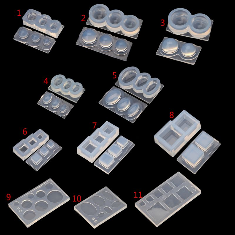 Silicone Mold DIY Jewelry Making UV Resin Geometric Molds Hollow Quicksand Mold With Square Round Ellipse Mold