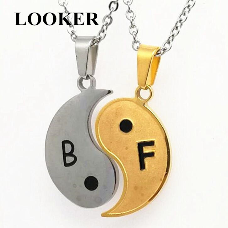 LOOKER Fashion Necklaces Eight Diagrams Gold and Steel Yin Yang Pendant for Couples Lover Best Friends Friendship Women Unisex in Pendant Necklaces from Jewelry Accessories