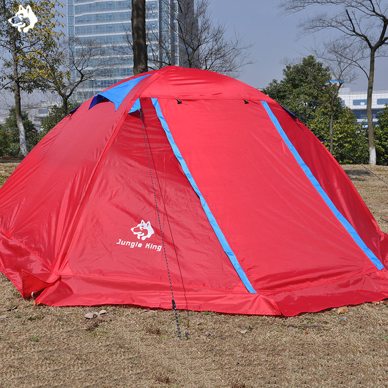 2 people Orange/Red/Blue double layer outdoor tents waterproof snowproof rainproof snow dress aluminum pole hiking camping tent 2018 hillman camping tent high mountain highland snow mountain double layers silicone coating tents super windproof rainproof