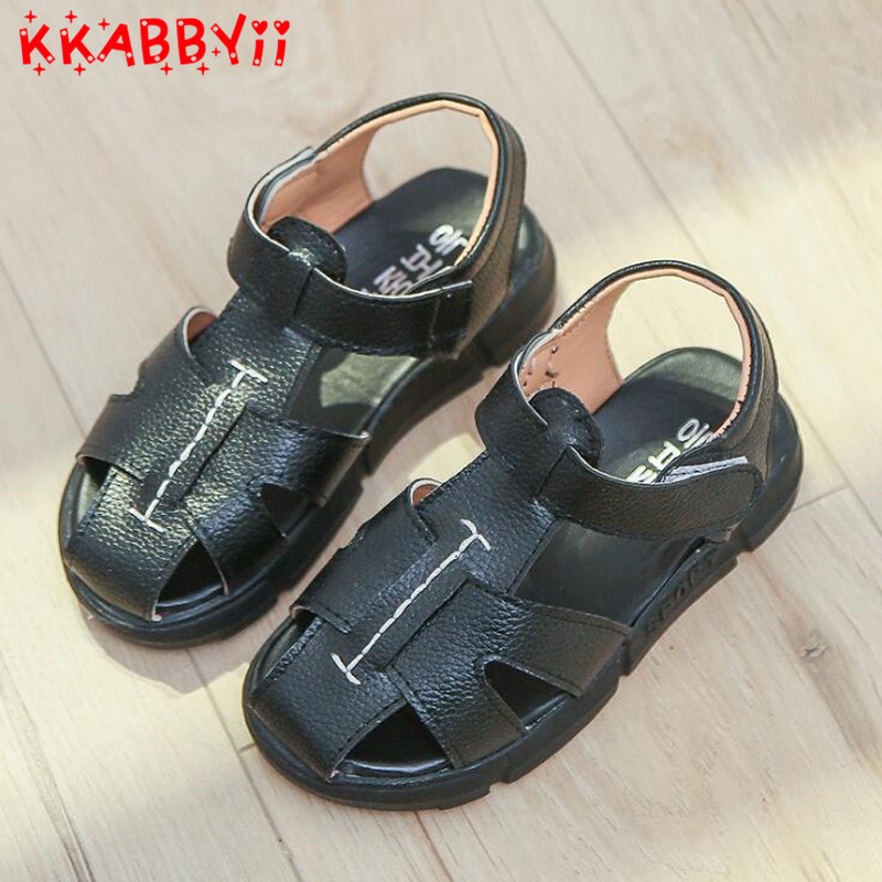 2018 New Spring Summer Shoes Boys Soft Leather Sandals Baby Boys Summer Prewalker Soft Sole Leather Beach Sandals ...