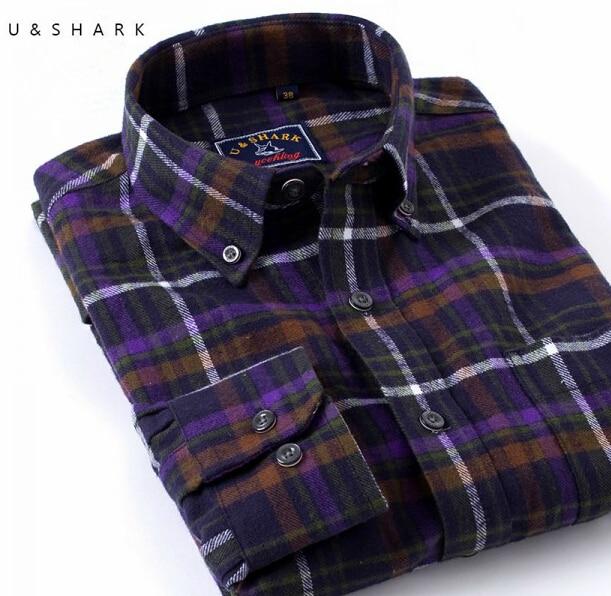 100% Cotton Purple Plaid Shirt Men Blouse Fall Flannel Shirt Men ...