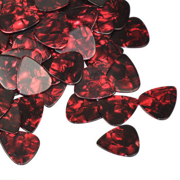 100pcs/lot 0.71mm 0.96mm 1.5mm Celluloid Guitar Picks Plectrums Red Pearl for Acoustic Electric Guitar Bass 30pcs alice pearl celluloid acoustic electric guitar picks plectrums 1 plastic picks box case free shipping