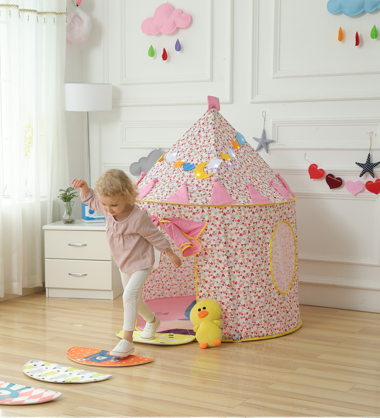 Blue/Pink Prince Foldable Kids Tent House aby tent Tipi Camping Toy Tent Indoor and Outdoor Kids Play Teepees for Children 1pcs children tent natural indian pattern unisex children toy tent cloth teepees safety portable indoor camping game playhouse