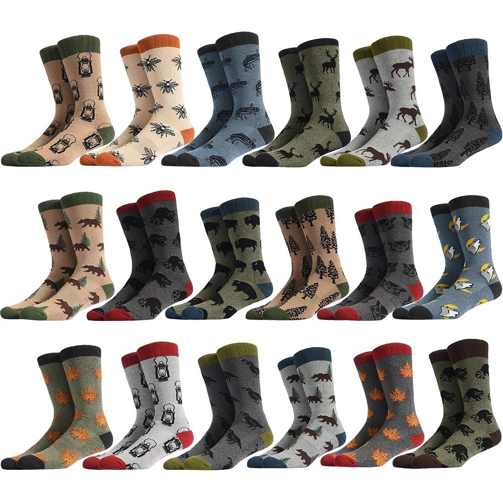 PEONFLY Men Happy Socks Funny Cartoon Forest Animal Creative Design Pattern Sokken Wedding Gift Combed Cotton Breathable Dress