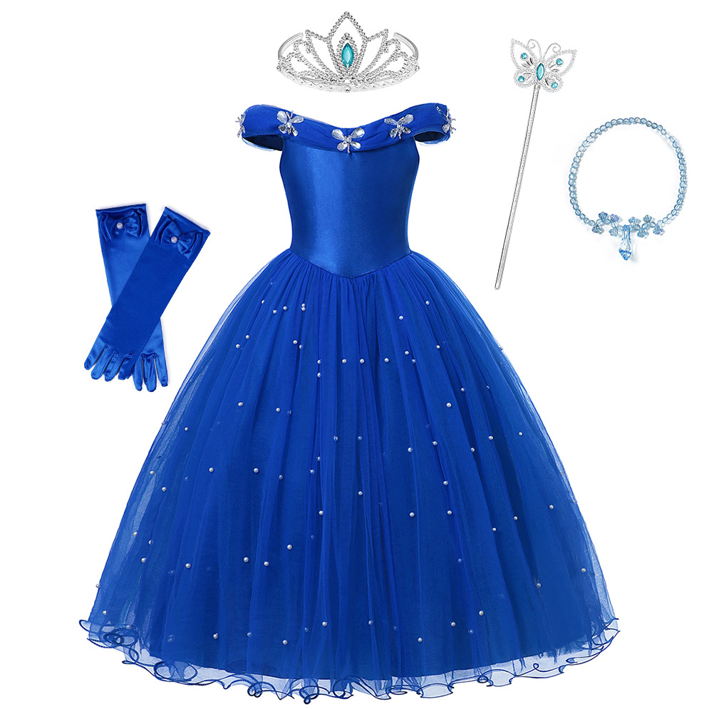 Fancy Little Girl Cinderella Tulle Dress Crystal Butterfly Party Gown Kid Halloween Princess Clothes Carnival Cinderella Cosplay