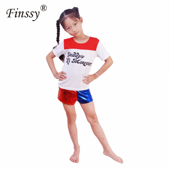 Movie Suicide Squad Harley Quinn Cosplay Costume for Kids Girls Halloween Carnival Dress Harley Quinn Jacket Underwear T shirt