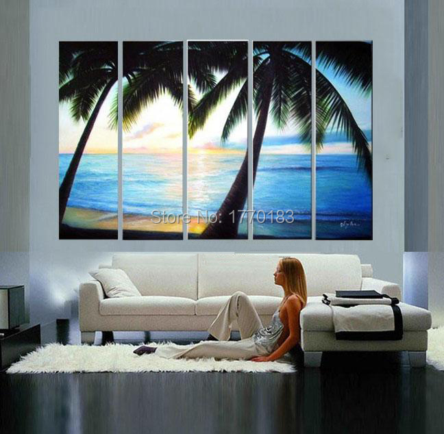 Handmade modern wall oil painting the palm tree Scenery on beach decorative picture on canvas for living room home decor piece