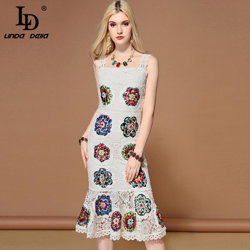 LD LINDA DELLA Elegant Hollow Out White Lace Dress 2019131431