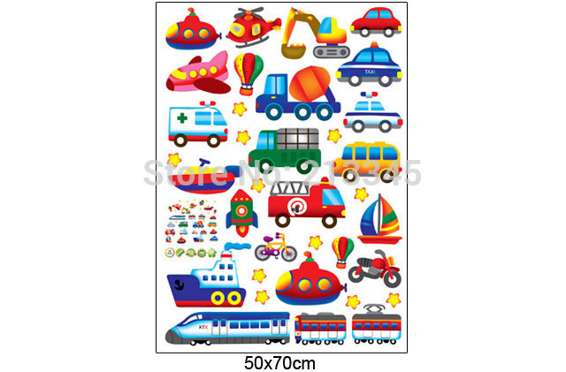 [Fundecor] diy home decor cartoon transportation cars wall stickers for kids room baby carro adesivo de parede infantil