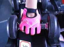 Summer  Elastic lycra nitrile gloves workout training body building half finger gym gloves fitness for women