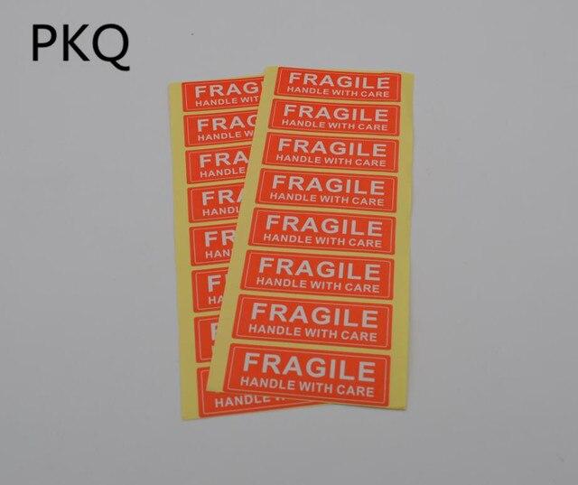 400 個 7.5 × 2.5 センチメートル脆弱ステッカーシールラベルステッカー強粘着赤色の長方形の形状脆弱ラベル