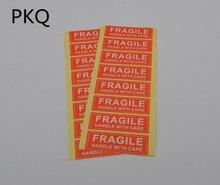 400 szt. 7.5x2.5cm delikatne naklejki naklejka z napisem mocny klej w kolorze czerwonym kształt prostokąta delikatna etykieta