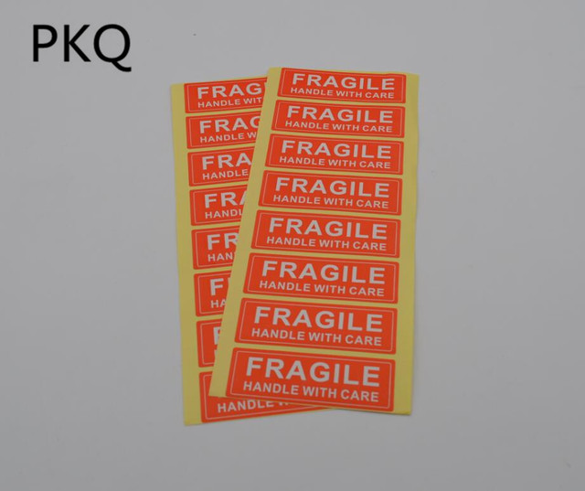 400pcs 7.5x2.5cm Fragile stickers Seal Label Sticker strong adhesive Red Color Rectangle Shape Fragile Label