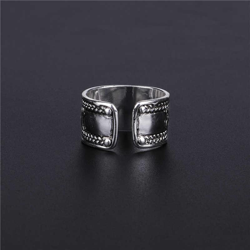 Anillos Vintage de plata tibetana para hombres anillos de Mantra tibetanos de seis palabras Om Mani Padme Hum anillo budista joyería de mujer