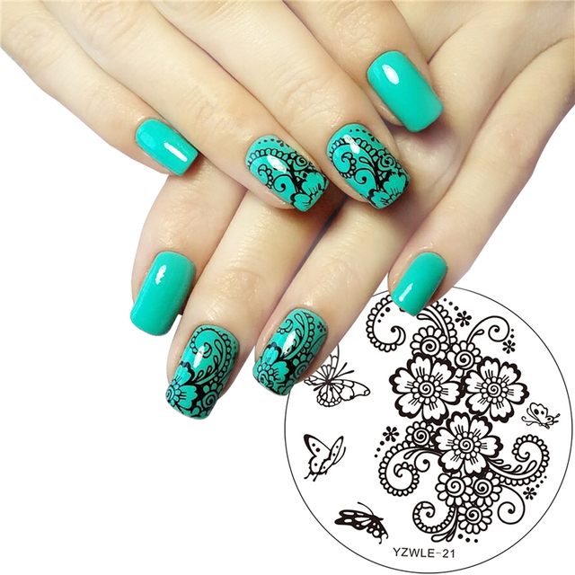 Hand Painted Butterfly Flower Original Designs Nail Art Stamp