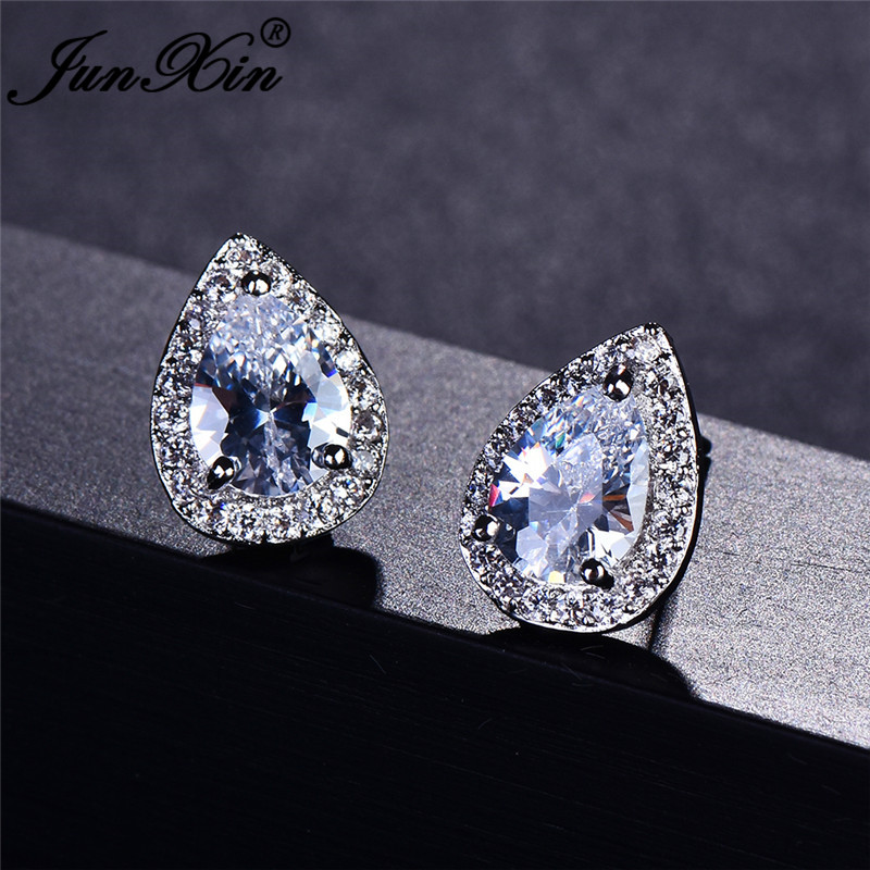 JUNXIN Pear Cut Multicolor Stone Teardrop Stud Earrings For Women Zircon Silver Color Blue Fire Opal Earrings Gift