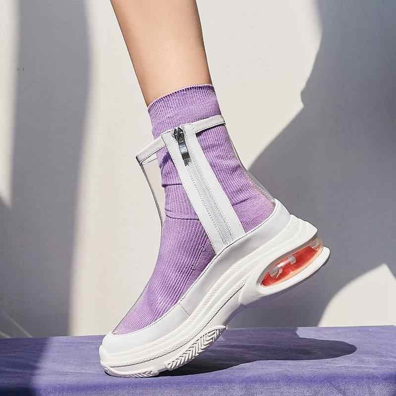 2018 süperstar tatlı PVC fermuar yüksek topuklu kadın yarım çizmeler garip tarzı muhtasar marka kama seksi şeffaf kış ayakkabı L15