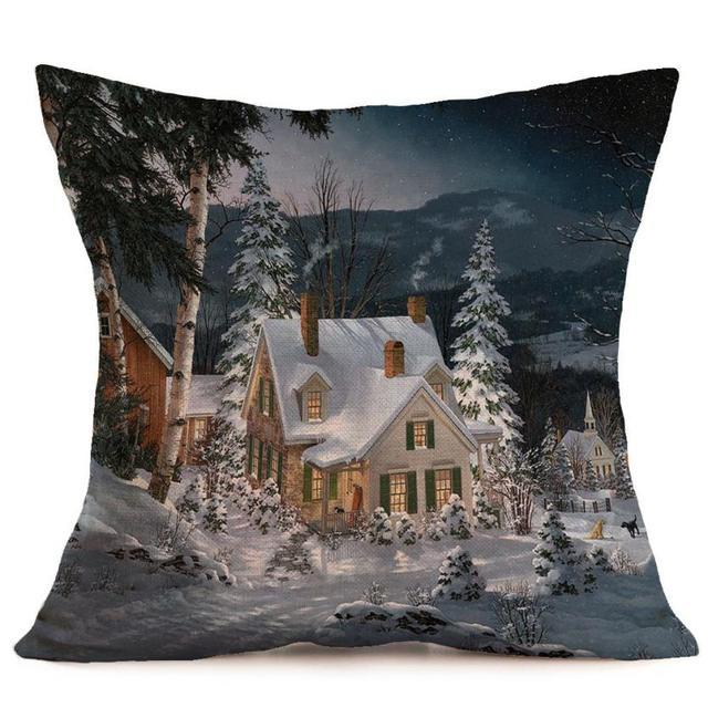 Buon Natale Lino Pillow Case Stampato Federa Cuscini Decorativi Per ...