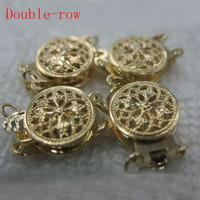 10 Mm Double Row Two Face 14K Yellow Solid Gold Clasp
