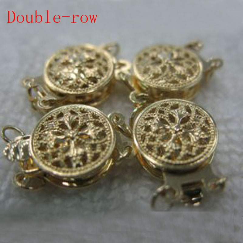 10mm Double rangée deux Face 14 K fermoir en or massif jaune