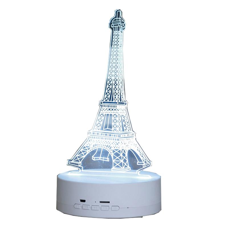 ABDO 900 3D new idea table lamp Eiffel tower bluetooth speaker LED wireless