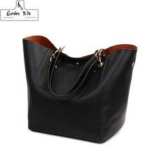 جلد طبيعي حقائب النساء 2019 تصميم جديد المرأة دلو حقائب Vintage حقائب كتف كبيرة الإناث بولسا الأنثوية حمل 12 لون