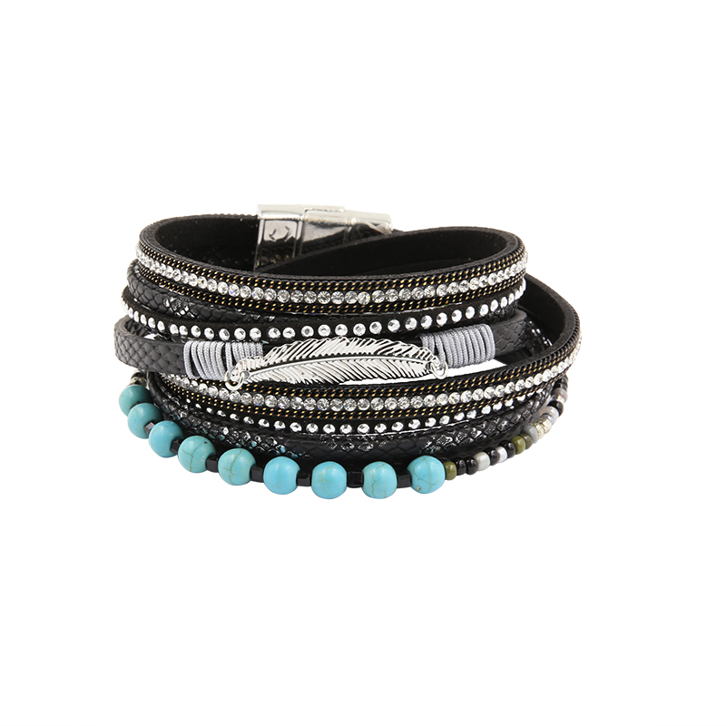 Bracelet PU Leather Bracelets&Bangles For Women Multi Rows Leaf Pulseira De Couro Long Crystal Set Beads Magnetic Pulseras Mujer