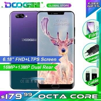 Сотовый телефон DOOGEE Y7 Plus, экран 6,18 дюйма 1080*2246, Восьмиядерный процессор MTK6757, 2,5 ГГц, 6 ГБ ОЗУ, 64 Гб ПЗУ, 16 Мп + 13 МП, 5080 мАч, Android 8,1