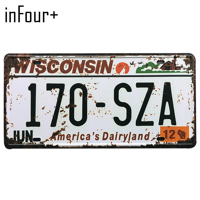 [inFour+]170-SZA License Plate Metal Plate Car Number Tin Sign Bar Pub Cafe Home Decor Metal Sign Garage Painting Plaques Signs