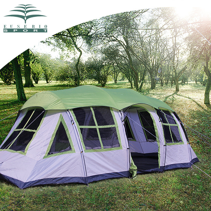 Professinal 8 Person 1 bedroom 1 living room rainproof ultra light base team party hiking trekking beach fishing camping tent image