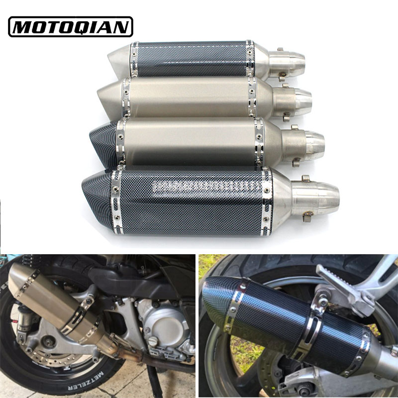 51mm Universal Motorcycle Exhaust Pipe Muffler Moto Bike Pot Escape For Yamaha Honda Suzuki Kawasaki Ducati KTM Accessories universal motorcycle bicycle accessories bike wheel rim spoke skins for ktm bmw yamaha kawasaki suzuki ducati aprili r3 r1 tmax
