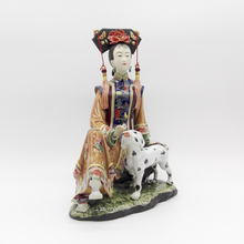 Chinese Lady Figurine Sculpture master works fine ceramic ornaments ancient figure crafts Dog