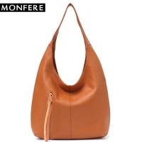 MONFERE Fashion Women's Handbags Tote Ladies' Genuine Leather Bag Luxury Brand Cowhide Hobo Shoulder Bag Female Pillow For Woman