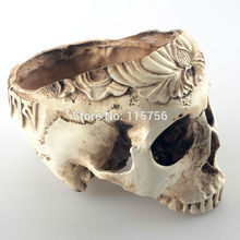 Garden room Decorative Resin Human Skull seeds flowers Planter Skeleton bonsai mince vegetables Containe(China (Mainland))