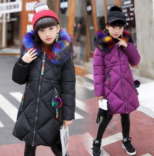 Fashion Girls Winter Coat Children Warm Cotton-padded Jacket School Kids Winter Clothes Girls Fur Collar Outerwear kids winter coat girls solid outerwear jacket children warm clothes girls thick cotton padded jacket fur collar hooded coat e291