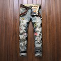 Personality Style Men Badge Denim Jeans Hight Quality Masculina Slim Pants Fashion Hip Hop Patchwork Hole Biker Jeans Trousers