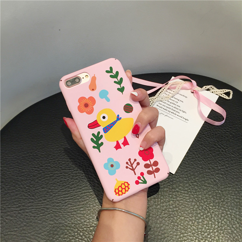 Cartoon Green Leaves Plants Phone Cases For iphone 6 6s 7 Case Fashion Pink Color Hard Cute Duck For iphone7 plus Back Cover